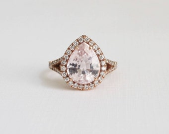 GIA Certified 3.63 Ct. Pear Cut Light Peach Sapphire Split Shank Diamond Engagement Ring in 14K Rose Gold