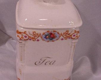 SALE! OLD Ceramic Tea Canister Basket of Flowers Ornate Czechoslovakia
