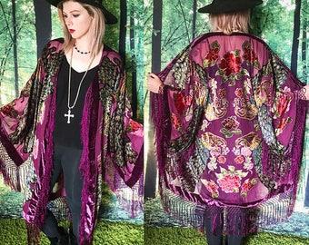 1970s Stevie Nicks Sheer Purple Peacock Fringe Burnout Velvet Kimono Duster