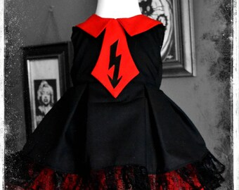 Bespoke Cute Little Marilyn Manson Inspired Black and Red Antichrist Superstar Dress for Ghoulish Little Gothic Girls by House of Goth.