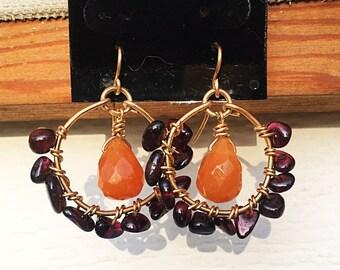 Unique Garnet and Carnelian 14k Gold Filled Earrings
