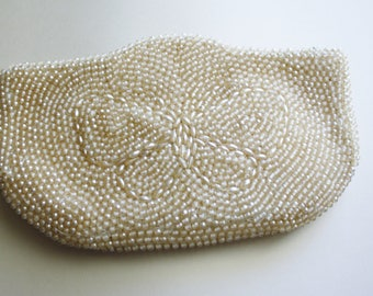 Vintage 1950's Beige Cream Colored Beaded Clutch,  La Regale Products of Japan