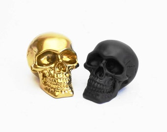 Gold Skull Resin Paperweight Human Gift