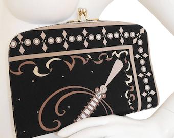 EMILIO PUCCI 1960s 1970s Vintage Large Evening Bag Clutch Handbag Black Silk Signature Print