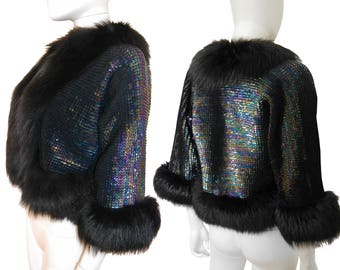 Christian Dior 1970s Vintage Iridescent Sequin Fox Fur Trim Cropped Evening Jacket Cape US Size 4-6 XS-Small
