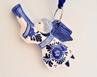 Ceramic Angel Blue and White, Christmas Ornament, Hand Painted, Danish Blueware, Angel Blowing Horn, Excellent Condition