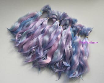 Angora Mohair locks ~ Multicolored icy blue lavender pink ~ doll hair weft reroot bjd wig blythe pullip minifee littlefee pukifee lati
