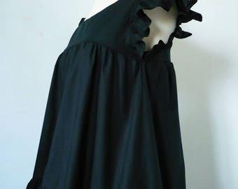 black cotton Poplin blouse Sarah