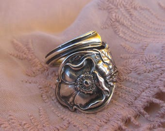 Wild Rose Flower Spoon Ring Made from Antique Spoon Floral Jewelry Romantic Gift Idea