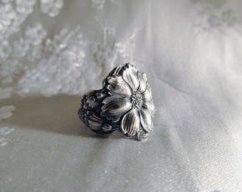 Cosmos Flower Sterling Spoon Ring Art Nouveau Circa 1900 Symbolic of Beauty Spring Flower Jewelry