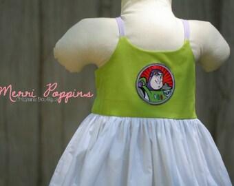 Lil Buzz strappy sundress, Twirly Buzz Lightyear Inspired, Dress Up, Every Day Play Wear, Handmade, Toy Story birthday
