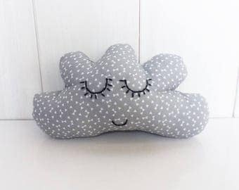 Smile cloud gray decorative pillow fabric small white Triangles