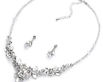 Floral Jewelry Set, Wedding Jewelry Set, Bridal Jewelry Set, Crystal Jewelry Set, Rhinestone Jewelry Set, Silver Bridal Accessories ~JE-1626