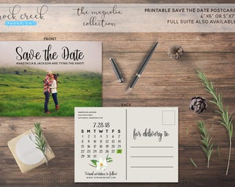 The Magnolia Collection Full Photo Printable Save The Date Card