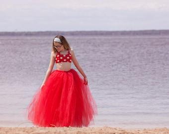 Full length Red tutu skirt. Long tutu.