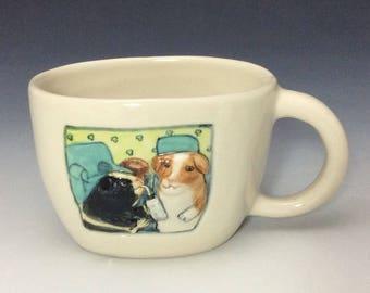 Guinea pigs cup, oval bowl, porcelain, 8 ounce