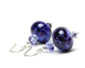 Deep Purple Lampwork Earrings - Violet Lampwork Glass Earrings on Sterling Silver Earwires  - Handmade Jewelry