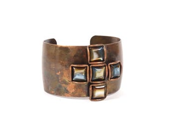 Vintage Brutalist Style Copper Cuff Bracelet - Vintage Bracelet