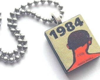 1984 Scrabble Tile Necklace with Stainless Steel Ball Chain - Literature