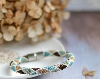Bead Crochet Bracelet Bohemian Beaded Bangle Beaded Crochet Rope Trendy Seed Bead Jewelry Summer Mood Boho Style Jewelry Friendship Bracelet