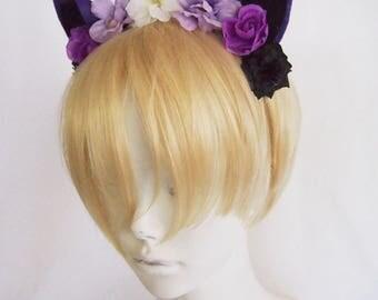 Purple and Black Mini Cat Ears with Purple Roses