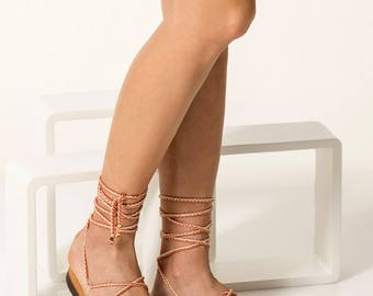 """Vegan Sandals, Pvc Lace ups, Women strappy sandals """"Chrystal"""" - NEW - Free standard shipping"""