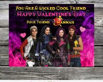 Printable Valentine Cards, Descendants Valentine's Day Cards, Kids Valentines Day Cards, Descendants Valentine Tags, DIY Valentine's Day tag