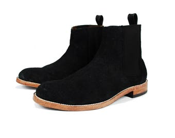 Chelsea Boots - Black boots - Suede boots - Leather Ankle Boots - Handcrafted - Goodyear Welted boots