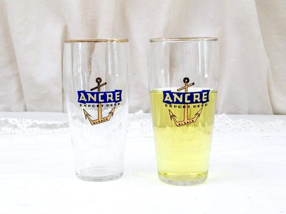 """2 Vintage French Beer Glasses """"Ancre Export Beer"""" From Alsace in Eastern France, Pair of 0.25 cl Glasses with Gold Rim and Anchor Motif"""