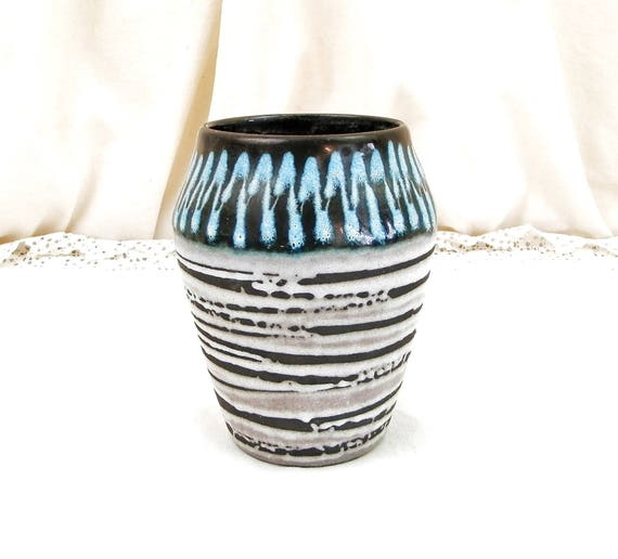 Vintage Mid Century Hand Decorated Pottery Vase in Black Glaze with Pale Blue and White Slip, Retro 1960s West German European Ceramics