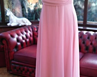 long pink chiffon grecian style crossover top shaped bust all lined bridesmaid wedding prom evening dress detail size uk10/12 usa size6/8