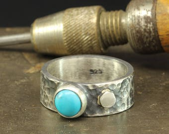 Natural Turquoise Ring, 925 Sterling Silver Oxidized, Blackened Rustic Handcrafted Hammered Designer Hand Forged Gemstone Black Band Ring