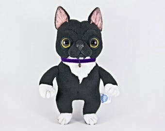 Black and White Cat in a Collar, soft art toy