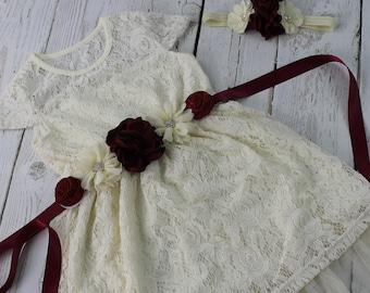 Burgundy Flower Girl Dress Rustic Flower Girl Dress Wine Sash & Headband Ivory Vintage Country Flower Girl Dress Ivory Jr Bridesmaid Dress