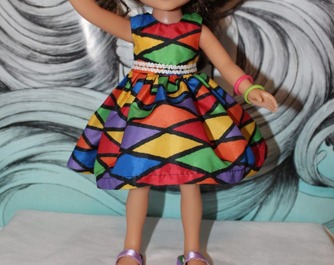 Back to School! Multi Color Dress and Lace/ Shoes Included. Handmade to fit the wellie wisher and Heart to Heart doll FREE SHIPPING