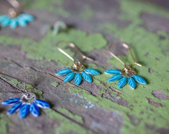 Gold turquoize earrings. enamel  Earrings. Long Dangle floral Earrings. romantic bride earrings