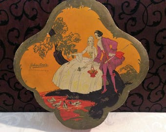 Stunning Vintage Candy Box, Cardboard Box, 1700s Courting Couple, Orange Box, Scalloped, Johnston's Chocolates, Antique