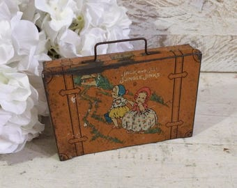 Shabby Primitive Vintage Jack and Jill Nursery Rhyme Tin Box, Trunk Suitcase, California Perfume, Orange Brown