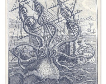 Octopus Poster in Grisaille, Octopus Art Print, Nautical Art, Giant Kraken on a Raging Sea, Coastal Wall Art, Beach Art, Father's Day Gift