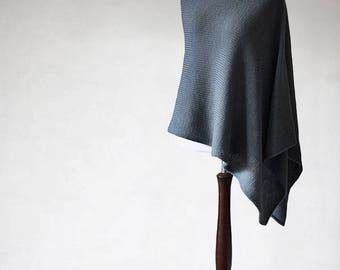 Chunky poncho, wool poncho, women's poncho, wrap sweater, women's sweater, knit poncho, merino poncho, gray poncho, wool sweater, wool cape