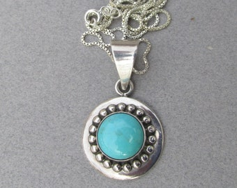 1980's Vintage Mexico Sterling Silver & Turquoise Round Pendant Necklace