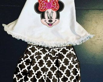 Minnie Mouse Birthday Outfit- Lattice Print Girls Toddler Summer Outfit-Bubble Shorts w/ Toddler Minnie Halter Top-Cute Minnie Mouse