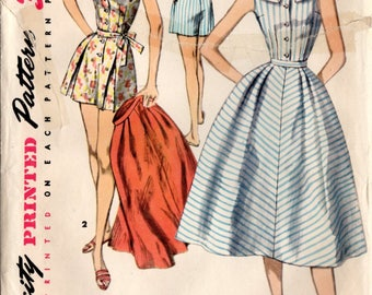 Vintage Swimsuit Sewing Pattern Simplicity 1609 Misses' Playsuit and Skirt