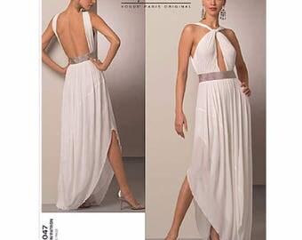 Vogue V1047 Guy LaRoche Designer Keyhole Draped Front Halter Evening Gown Sewing Pattern