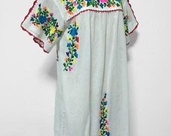 Embroidered Mexican Dress Cotton Tunic In White, Boho Dress, Gypsy Dress