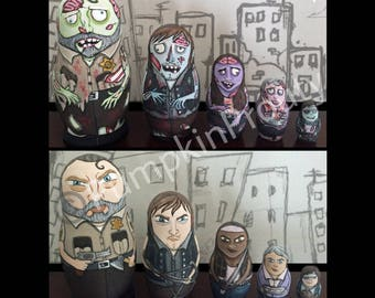 4.5 inch 5 piece set of Walking dead fan art