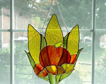 Pumpkin and Corn Stained Glass Suncatcher, Stained Glass Leaves, Fall Suncatcher, Autumn Decor, Thanksgiving Decor, Harvest Decoration