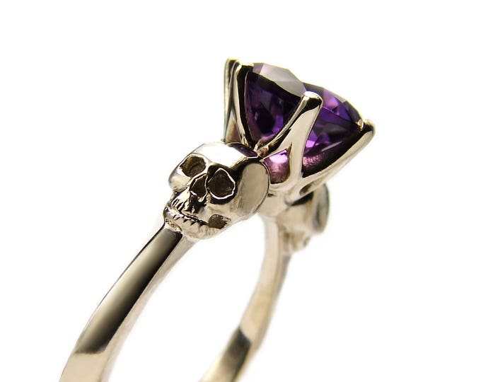 14K White Gold Skull Ring Size 6.5 READY TO SHIP Goth Engagement Ring Amethyst Rock n Roll Wedding Ring Memento Mori