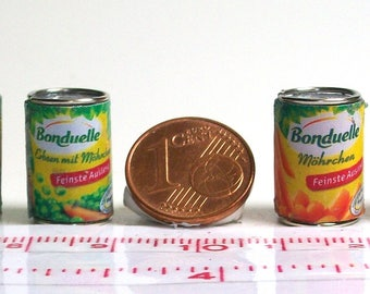 6101# 6 miniature cans with vegetables - Doll house miniature scale 1/12