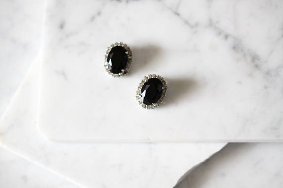1960s black rhinestone earrings // 1960s earrings // vintage earrings